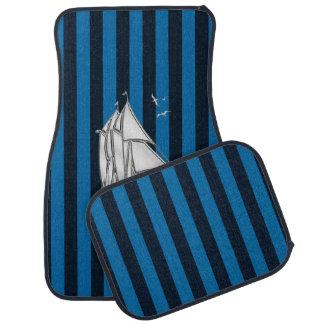 Chrome Sail Boat on Blue Stripes Print Floor Mat