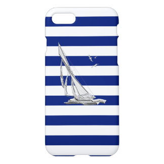 Chrome Sail Boat on Navy Stripes iPhone 7 Case