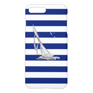Chrome Sail Boat on Navy Stripes iPhone 7 Plus Case