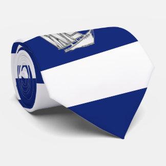 Chrome Sailboat on Nautical navy blue Stripes Tie