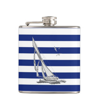 Chrome Sailboat on Navy Stripes Hip Flask