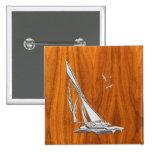 Chrome Sailboat on Teak Veneer Badges