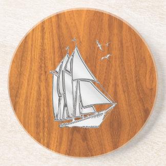 Chrome Sailboat on Teak Veneer Coaster