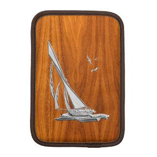 Chrome Sailboat on Teak Veneer iPad Mini Sleeves