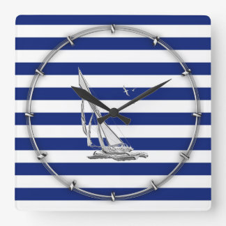 Chrome Sailing on Nautical Stripes Wallclock