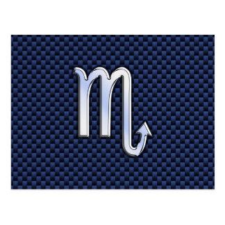 Chrome Scorpio Zodiac Sign on Blue Carbon Fiber Postcard