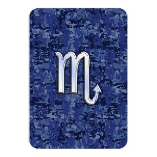 Chrome Scorpio Zodiac Sign on Navy Blue Camo 9 Cm X 13 Cm Invitation Card