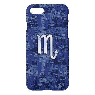 Chrome Scorpio Zodiac Sign on Navy Blue Camo iPhone 7 Case
