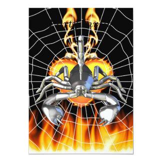 Chrome scorpion design 3 with fire and web 13 cm x 18 cm invitation card