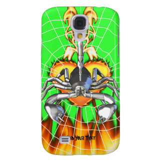 Chrome scorpion design 3 with fire and web galaxy s4 case