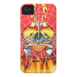 Chrome scorpion design 3 with fire and web iPhone 4 case