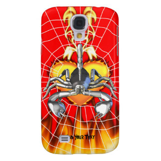 Chrome scorpion design 3 with fire and web samsung galaxy s4 covers