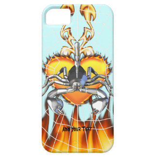 Chrome scorpion design 3 with fire and web iPhone 5 cover