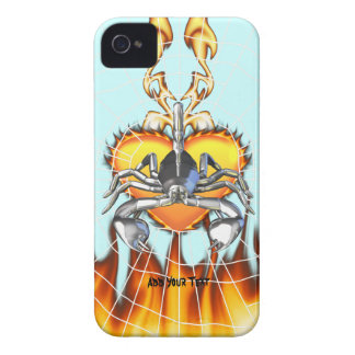 Chrome scorpion design 3 with fire and web Case-Mate iPhone 4 cases