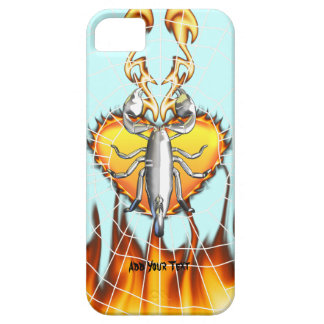 Chrome scorpion design 4 with fire and web barely there iPhone 5 case