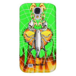 Chrome scorpion design 4 with fire and web galaxy s4 cover