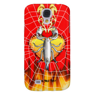 Chrome scorpion design 4 with fire and web galaxy s4 case