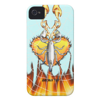 Chrome scorpion design 4 with fire and web Case-Mate iPhone 4 case