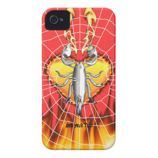 Chrome scorpion design 4 with fire and web iPhone 4 cover