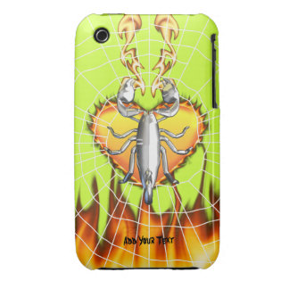 Chrome scorpion design 4 with fire and web Case-Mate iPhone 3 case