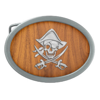 Chrome Silver Pirate on Teak Veneer Decor Belt Buckle