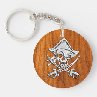 Chrome Silver Pirate on Teak Veneer Decor Double-Sided Round Acrylic Key Ring
