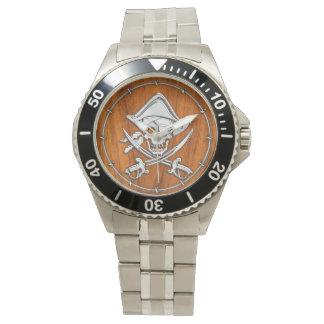 Chrome Silver Pirate on Teak Veneer Decor Watch