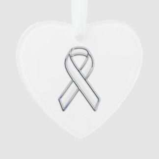 Chrome Silver Print Belted White Ribbon Awareness