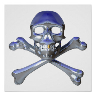 Chrome skull and crossbones poster