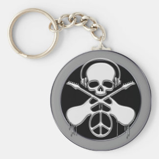 CHROME SKULL, GUITAR AND PEACE SIGN KEY RING
