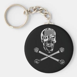 Chrome Skull Key Ring
