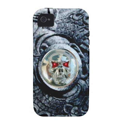 CHROME SKULL WITH FANTASY GRIFFINS iPhone 4 COVERS