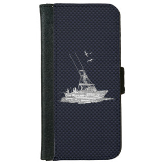 Chrome Sports Fishing Print on Navy Carbon Fiber iPhone 6 Wallet Case
