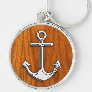 Chrome Style Anchor on Teak Veneer Silver-Colored Round Key Ring