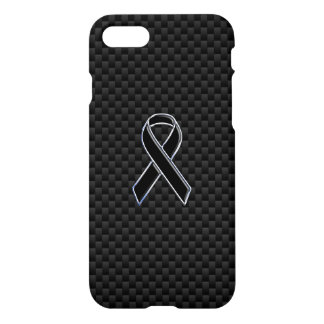 Chrome Style Black Ribbon Awareness Carbon Fiber iPhone 7 Case