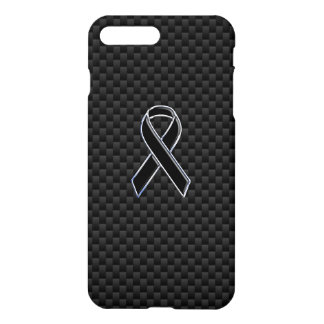 Chrome Style Black Ribbon Awareness Carbon Fiber iPhone 7 Plus Case