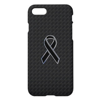 Chrome Style Black Ribbon Awareness iPhone 7 Case