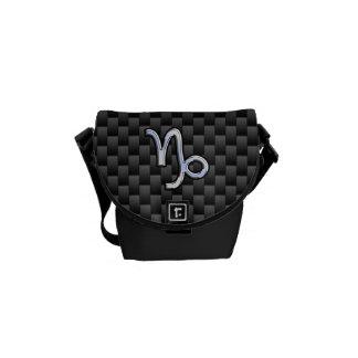 Chrome Style Capricorn Zodiac Sign on Carbon Fiber Courier Bags