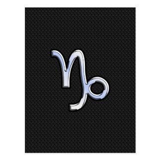 Chrome Style Capricorn Zodiac Sign on Snake style Postcard