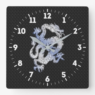 Chrome Style Dragon in Black Snake Skin Print on a Wall Clocks
