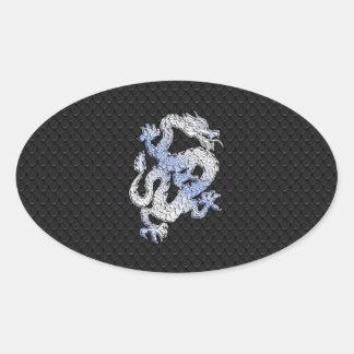 Chrome Style Dragon in Black Snake Skin Print Oval Sticker