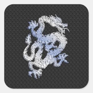 Chrome Style Dragon in Black Snake Skin Print Square Sticker