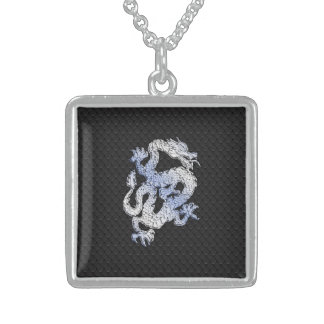 Chrome Style Dragon in Black Snake Skin Print Sterling Silver Necklace