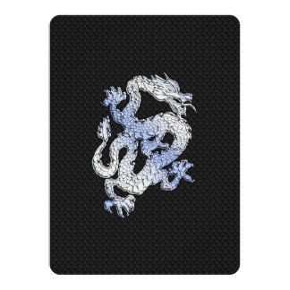 Chrome Style Dragon on Black Snake Skin Print Announcement Cards