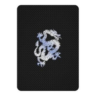 Chrome Style Dragon on Black Snake Skin Print Custom Invitation