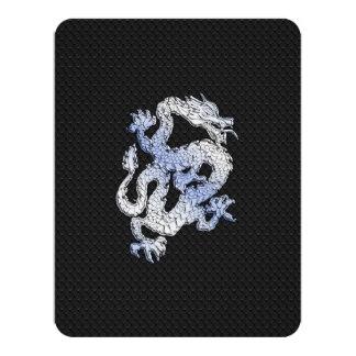 Chrome Style Dragon on Black Snake Skin Print Custom Invitation Cards