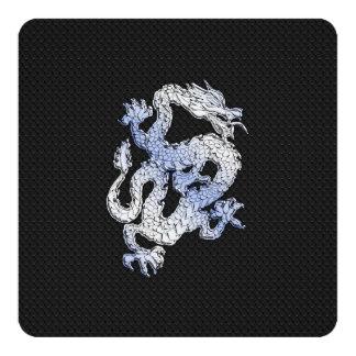 Chrome Style Dragon on Black Snake Skin Print Custom Announcement Card