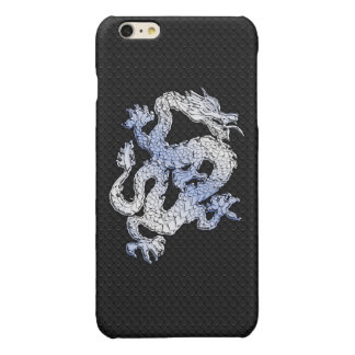 Chrome Style Dragon on Black Snake Skin Print iPhone 6 Plus Case