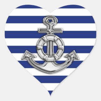 Chrome Style Lifesaver on Nautical Stripes Heart Sticker