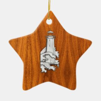 Chrome Style Lighthouse on Teak Wood Decor Christmas Ornament